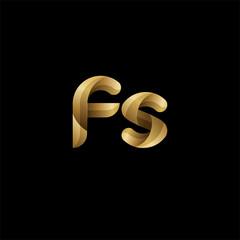 Initial lowercase letter fs, swirl curve rounded logo, elegant golden color on black background
