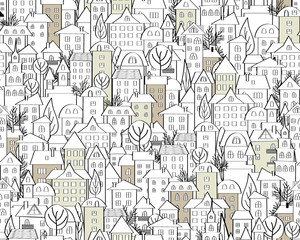 Pattern with hand drawn doodle houses. Illustration with cute town roofs and trees. Seamless background in black and white. Vector