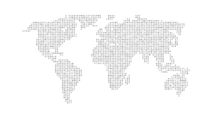 Black color world map isolated on white background. Abstract flat template with letters for web design, brochure, flyer, annual report, banner, infographic. Global concept, vector illustration.
