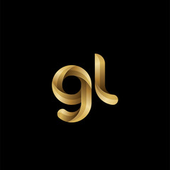 Initial lowercase letter gl, swirl curve rounded logo, elegant golden color on black background