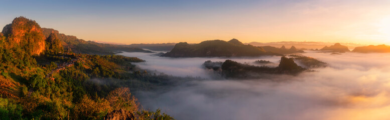 Panoramic mountain landscape and mist.