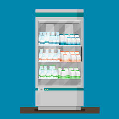 Supermarket. Flat vector. Refrigerator with milk products