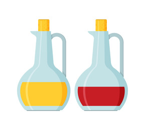 Bottle of olive oil and vinegar vector flat
