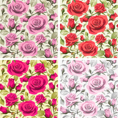 Seamless floral patterns with roses on a light backgrounds.