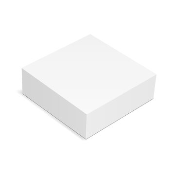 Square box mock up isolated on white background - high angle view. Vector illustration