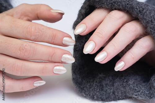 Attractive Manicure On Womens Hands Natural Finger Nails With