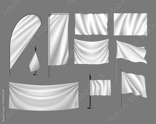 Flags vector mockup  Set white flags, banners, streamers on