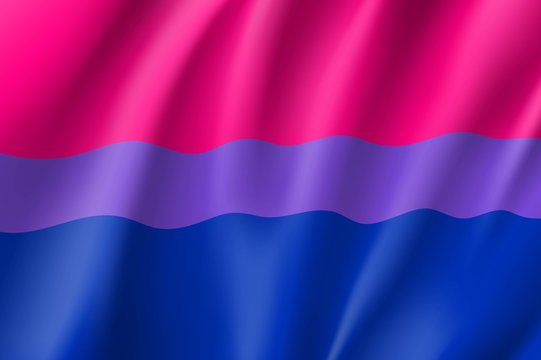 Bisexual canvas movement lgbt, realistic banner. Flag of sexual minorities, gays and lesbians. Vector illustration of a colorful sign