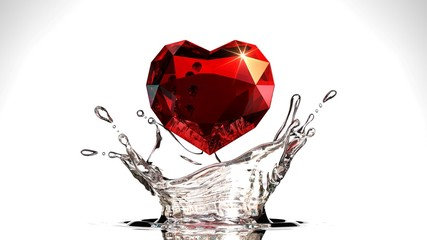 Red Heart Diamond with water Splash on white background,3D Rendering.
