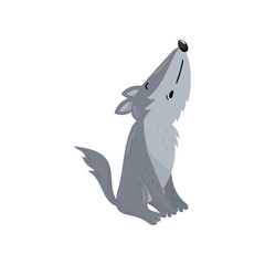 Cute wolf woodland howling cartoon animal vector Illustration