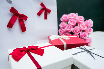 Gift box decoration for Christmas, new year, valentine day