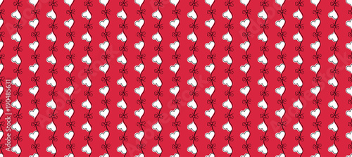 Heart Seamless Pattern Red And White Color Vector Illustration Valentines Day Background Love