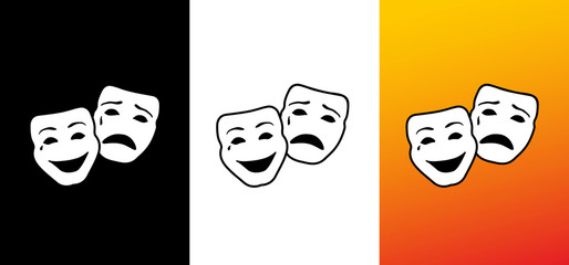 Happy and sad mask, logo opera & carnival image, illustration, vector icon AI / EPS 10 vol.3