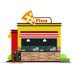 Pizza shop. The facade of shop icon in flat style design. Vector illustration..