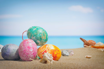 Easter on beach background