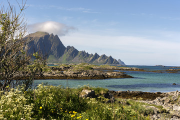 overview tropical beach at Andenes at the lofoten islands in norway