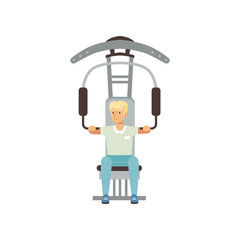 Astronaut physical training. Young man preparing for space flight. Gym equipment. Workout concept. Cartoon male character in shorts and t-shirt. Flat vector design
