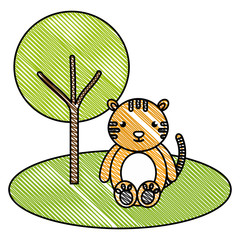 cute and tender tiger in the jungle character vector illustration design