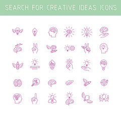 Line icons collection of human brain process