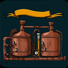 Retro brewery engraving. Copper tanks and barrels in brewery beer. Tanks from brewery factory, craft beer. Vintage engraving illustration on dark background.