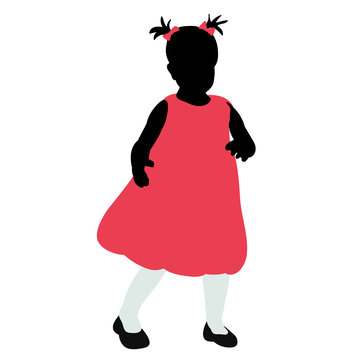isolated silhouette in colored clothes little girl