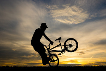 bike trial at sunset
