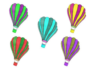 Flying hot air balloons. Colorful hand painted artistic illustration. Sketch clip art set.