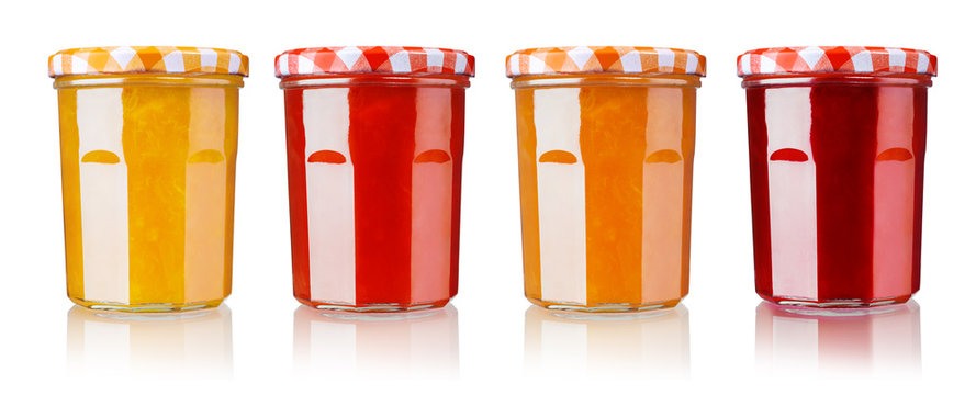 jam in jar, isolated on white