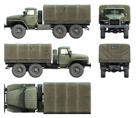 3d-renders of Soviet army truck URAL-4320
