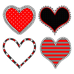 Hand drawn hearts. Set of heart icons. Vector illustration for design of a stickies, t-shirt, bag, cup.