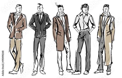 c0529d3d4f1 Fashion man. Set of fashionable men s sketches on a white background.  Spring men.