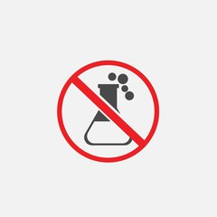 caution sign chemical bottle vector icon for corrosive and dangerous