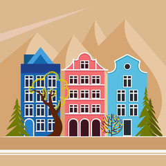 European city in the mountains. Daytime, summer, autumn, spring. City street with five houses, trees deciduous and coniferous. Urban environment. Vector illustration.