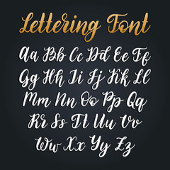 Cyrillic font letters on black background. Vector hand lettering Russian alphabet. Slavic calligraphy
