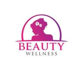 vector logo design illustration for beauty women wellness, beauty salon, yoga class, cosmetic makeup