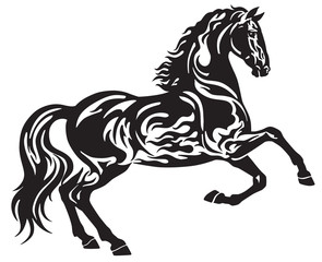 The black stallion horse in free movement . Side view silhouette . Tribal tattoo style vector illustration isolated on the white background