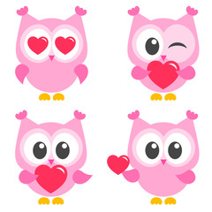 set of cute pink owls with hearts