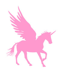 Cute magic Unicorn Pegasus vector silhouette isolated on white background. Pink Pegasus silhouette, majestic mythical Greek winged horse.  Mythology flying Horse from dream. Symbol of freedom.