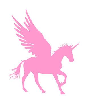 Cute magic Unicorn Pegasus vector silhouette isolated on white background. Pink Pegasus silhouette, majestic mythical Greek winged horse.  Mythology flying Horse from dream. Symbol of freedom.