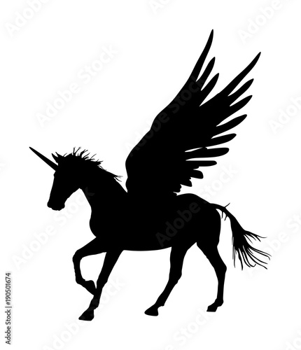 quotcute magic unicorn pegasus vector silhouette isolated on