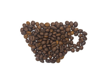 Wall Murals Coffee beans A cup of coffee beans