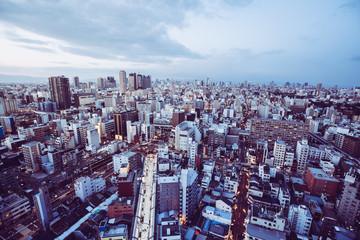 日本 都市風景 大阪 夕暮れ