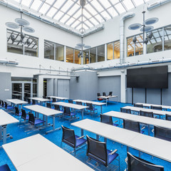 Lecture hall with glass ceiling