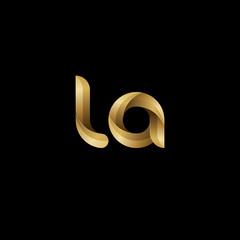 Initial lowercase letter la, swirl curve rounded logo, elegant golden color on black background