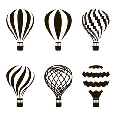 collection of monochrome hot air balloon icons