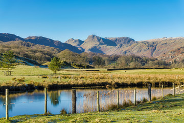The Langdale Pikes seen from Elterwater