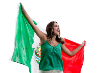 Mexican female fan celebrating on white background
