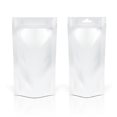 Two realistic foil food or drink pouches on white background