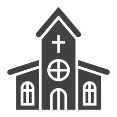 Church glyph icon, easter and holiday, building sign vector graphics, a solid pattern on a white background, eps 10.