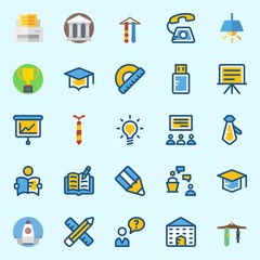 Icons set about School And Education with mortarboard, pencil, open book, missile, user and lecture